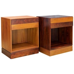 Teak and Rosewood Bedside Nightstand Cabinets