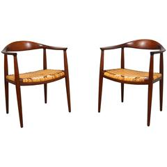 "Hans Wegner Pair of ""Round"" Chairs in Teak and Cane"