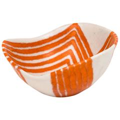 1950s Guido Gambone Free-Form Ceramic Bowl with Tribal Motif
