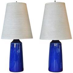 Hot Pair Cobalt Blue Lotte Lamps Original Shades