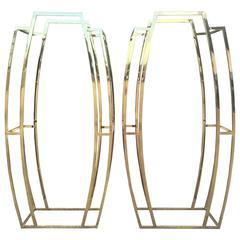 Pair of Brass Art Deco Étagères Shelves Shelf Hollywood Regency Mid-Century