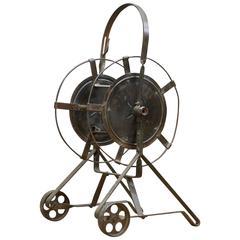 1920s Industrial Steampunk Garden Hose Cart
