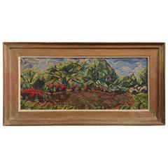 """Central Park"" 1940 Modernist Painting by Arthur Schwieder"