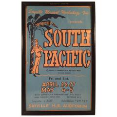 """""""South Pacific"""" Framed Theatrical Performance Poster, Sayville NY, 1957"""