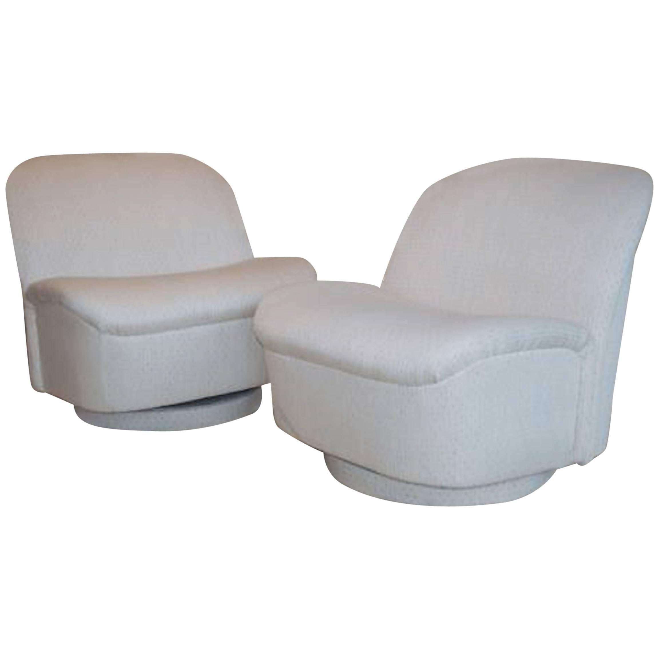 Pair of Vintage Swivel Chairs by Vladimir Kagan for Directional
