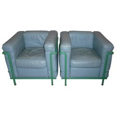 Pair of Le Corbusier Lounge Chairs LC2 Cassina