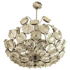 Chrome Chandelier with Glass Medallions, Italy, 1960s