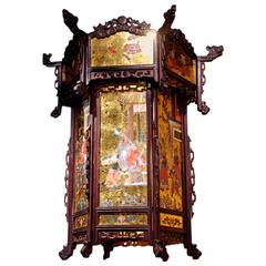 19th Century Chinese Style Gold Leaf and Painted Glass Lantern