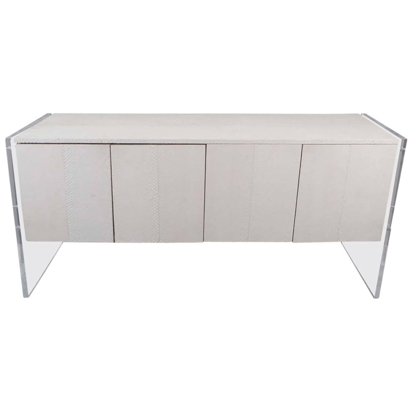 White Python Sideboard with Lucite Side Panels