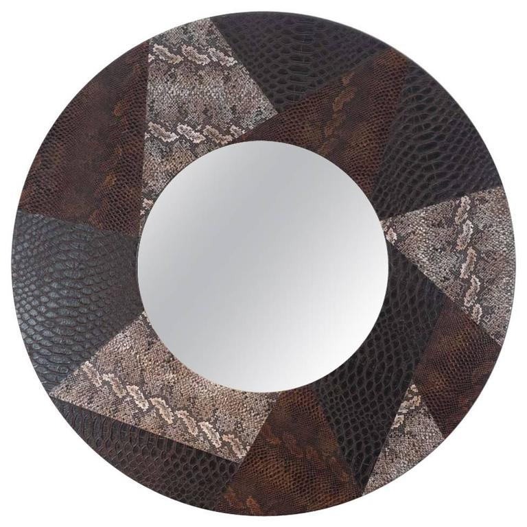 round leather mirror leather framed round leather mirror for sale at 1stdibs