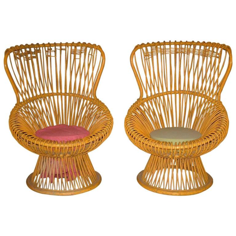 Pair of Franco Albini Rattan Chairs For Sale
