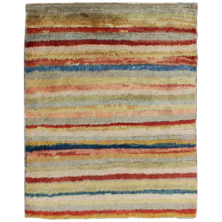 Vintage Turkish Tulu Rug with Stripes