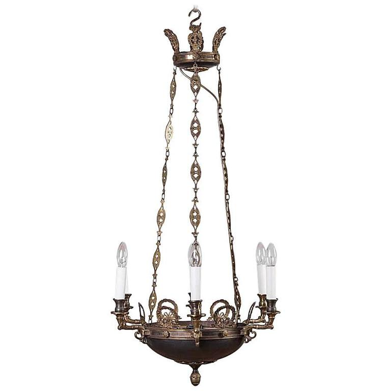 An empire style six light chandelier circa 1910 at 1stdibs - Circa lighting chandeliers ...