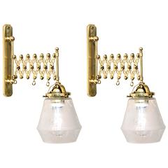 Two Art Deco Extendable Wall Lamps with Original Glass