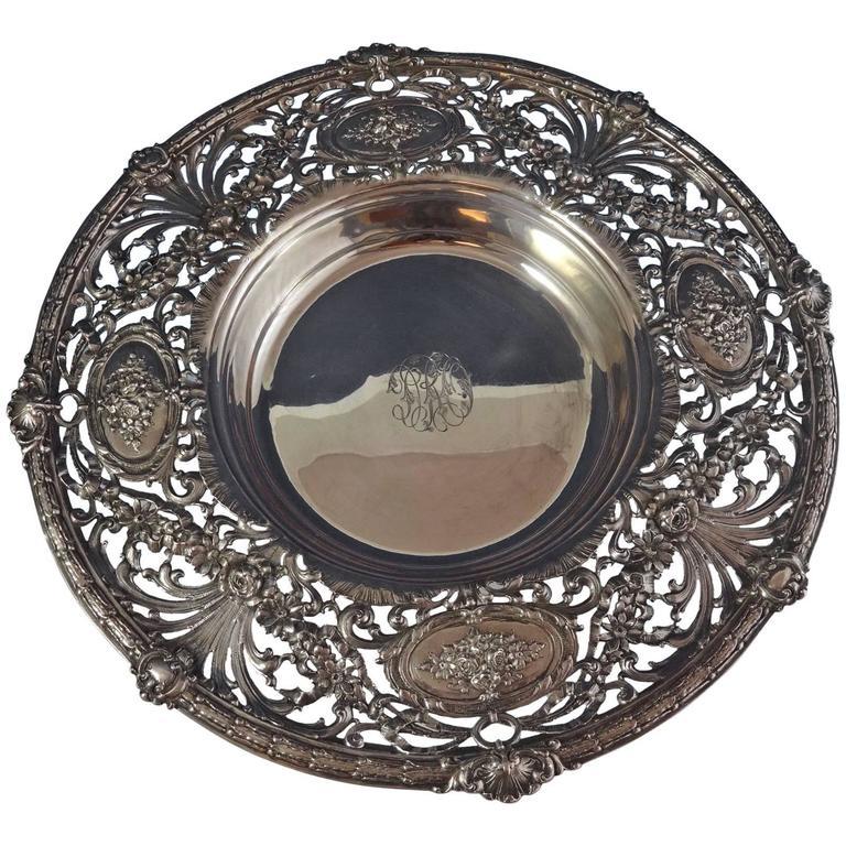 Redlich & Co. Sterling Silver Centerpiece Bowl Pierced Hollowware For Sale