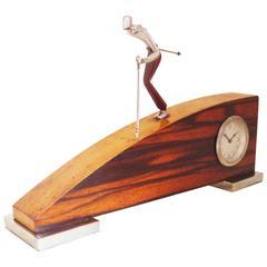 Italian Art Deco/Futurist Chrome and Palissandre Skier Clock by Veglia