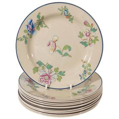 Set of Ten Wedgwood Drabware Dishes Painted with Enamel Flowers