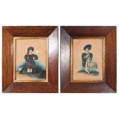 Pair  Watercolor Portraits of a Shepherd Boys Early 19th Century Signed Dated