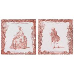 Pair of 18th Century Sepia Colored Delft Theatrical Tiles