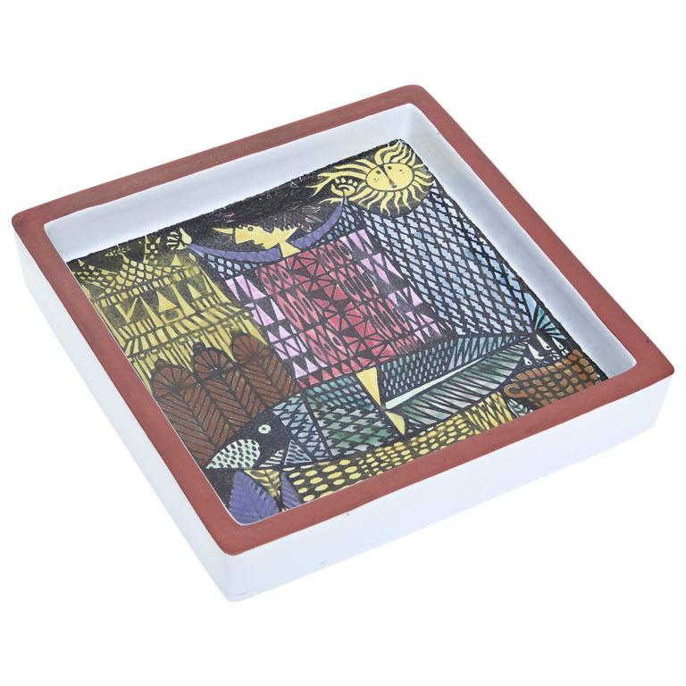Hallmarked Ceramic Stig Lindberg Square Bowl/ Dish