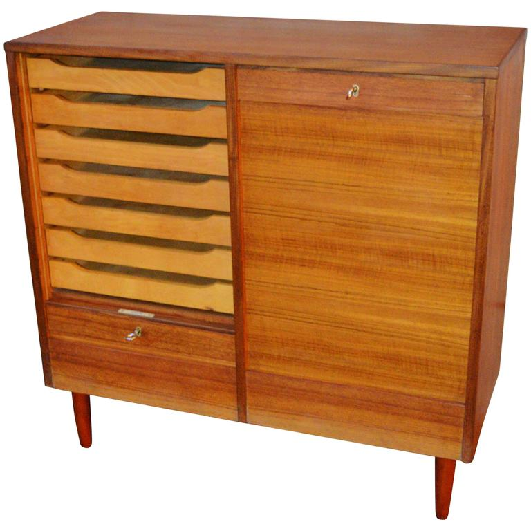 Charmant Teak Tambour Door Flat File Storage Cabinet For Sale