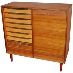 Teak Tambour Door Flat File Storage Cabinet