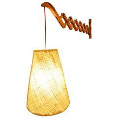 Teak Accordion Wall Light Fibreglass Pendant