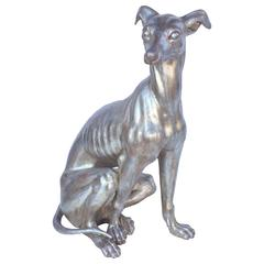 Large Italian Greyhound of Silver Gilt Carved Wood