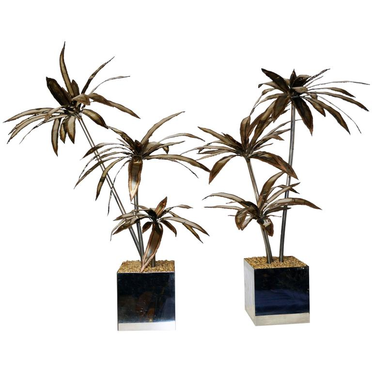 Pair of 1960s French Steel Palm Trees For Sale