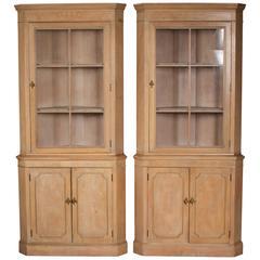 Midcentury Bleached Mahogany Corner Cabinet Pair