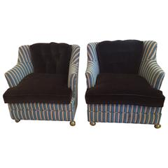 Pair of Vintage Club Chairs in Contemporary Fabrics