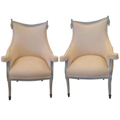 Pair of Sublime Hollywood Regency Grosfeld House Bergeres or Club Chairs