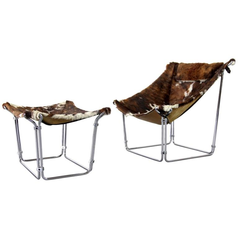 Cowhide Lounge Chair with Ottoman by Kwok Hoi Chan Produced by Steiner, Paris For Sale