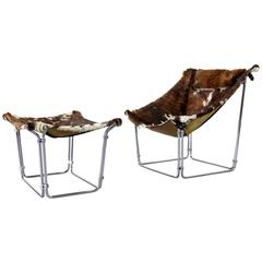 Cowhide Lounge Chair with Ottoman by Kwok Hoi Chan Produced by Steiner, Paris