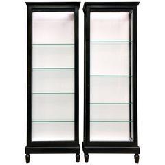 Pair of Ebonized Oak Display Cabinets
