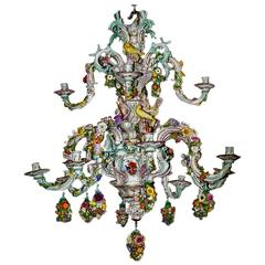 Meissen Gorgeous Chandelier Vintage Flowers and Figurines Made, circa 1850-1870