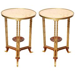 Pair of French Marble Napoleon III Style Marble Gueridons