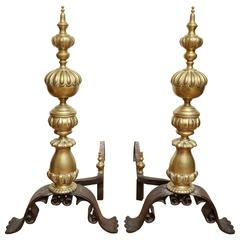 Pair of Bronze Dutch Baroque Style Andirons