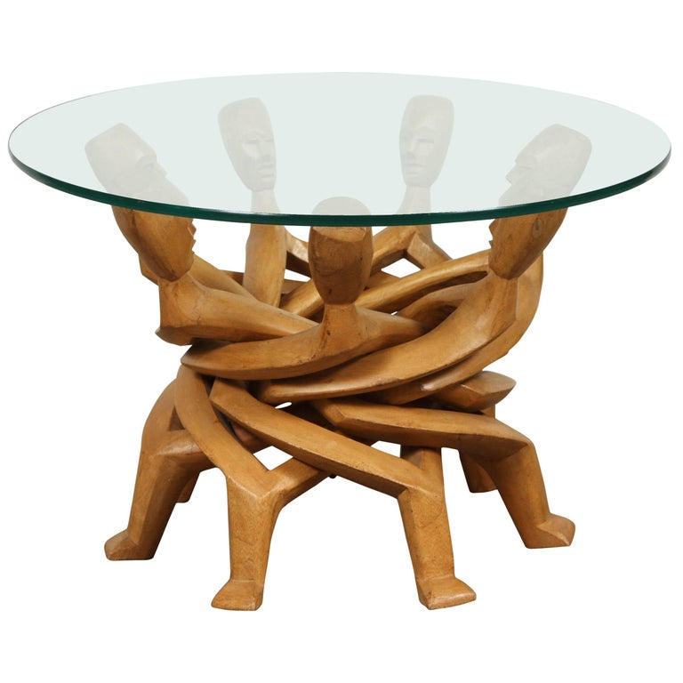 African Folding Tribal Glass Table For Sale
