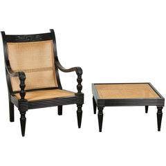 Anglo-Indian Ebonized Armchair and Ottoman