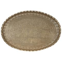 Antique Persian Wall Hanging Silvered Metal Tray