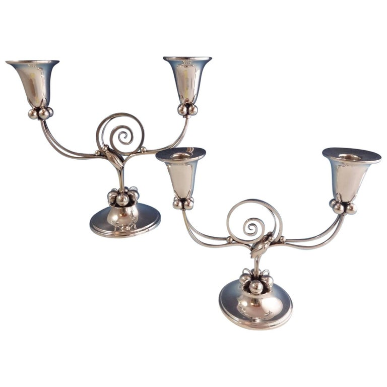 Blossom by Boardman Sterling Silver Candelabra Pair, 1940's Hollowware For Sale