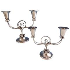Blossom by Boardman Sterling Silver Candelabra Pair, 1940's Hollowware