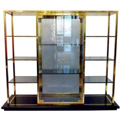 Italian Vitrine in Brass on a Black Base