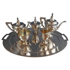 Etruscan by Gorham Sterling Silver Tea Set, Six-Piece with Tray