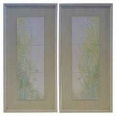 Harris Strong Pair of Framed Floral Tiles