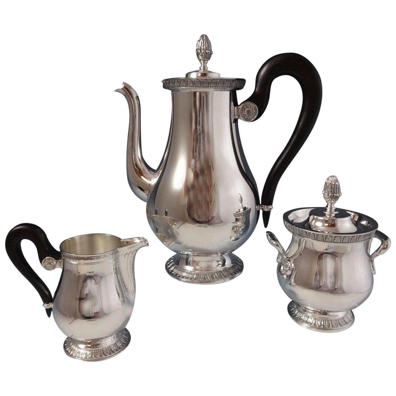 malmaison by christofle silver plate tea set of three piece at 1stdibs. Black Bedroom Furniture Sets. Home Design Ideas