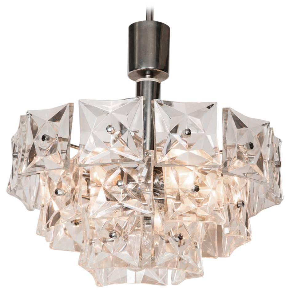 Chrome and Square Pressed Glass Tiered Chandelier at 1stdibs