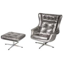 Unique Re-Invented Silver Leather Armchair with Stool by Pitfield London