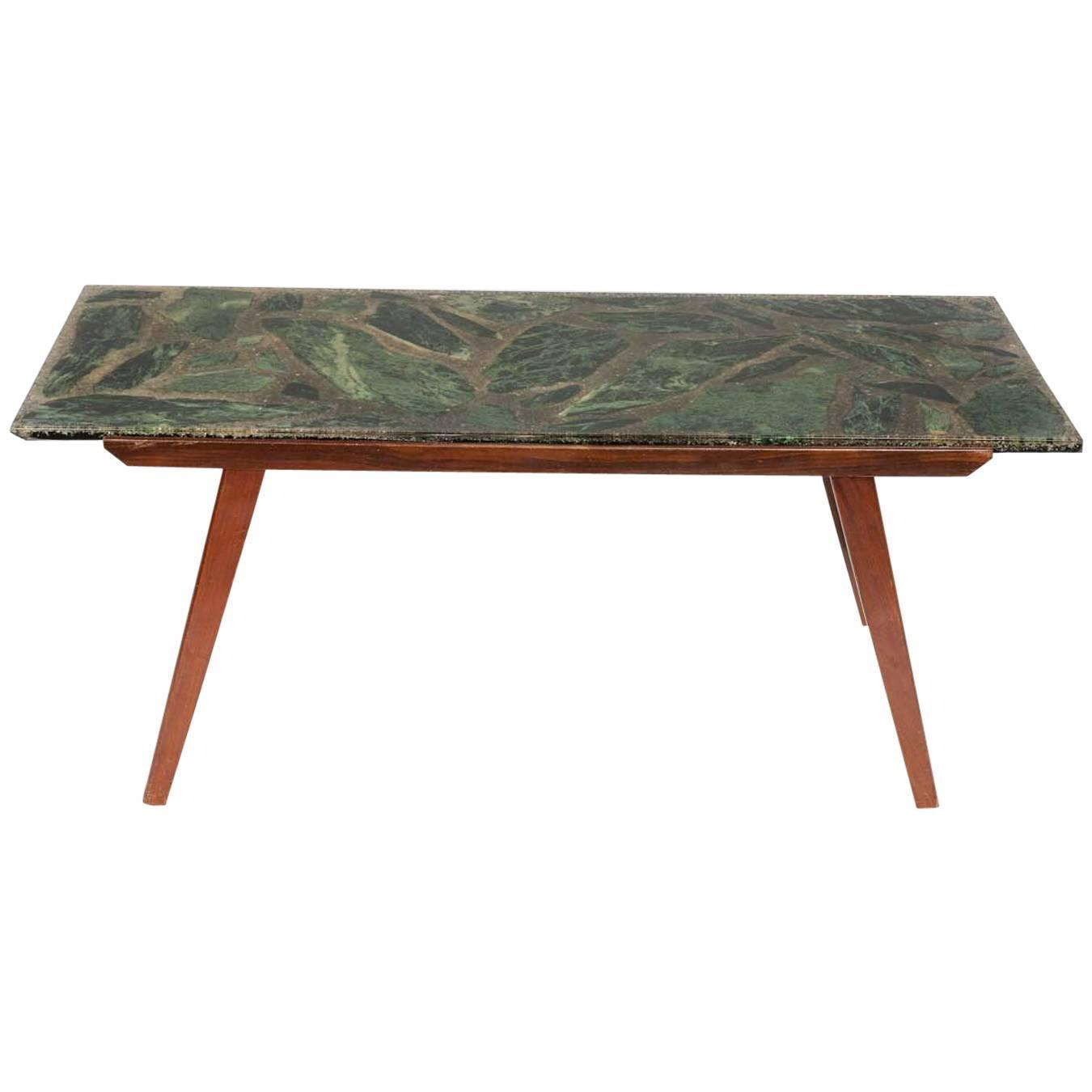 Danish Style Coffee Table: Green Marble And Resin Danish Style Coffee Table With